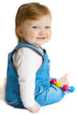 Smiling child at jeans suit — Stock Photo