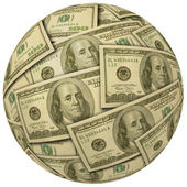 Cash Ball of $100 bills — Stock Photo