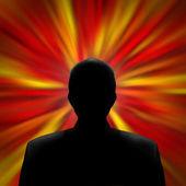 Silhouetteed Man in a Red Vortex — Foto de Stock