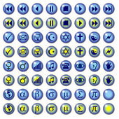 Blue Web Symbol Buttons with rollovers — Stock Photo