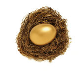 Golden nest egg from overhead — Stock Photo