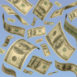One hundred dollar bills floating in air - Foto Stock