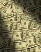 Hundra dollar räkningar ligger platt — Stockfoto