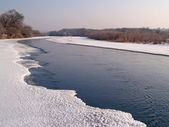 River Ussuri in the winter morning — Stock Photo