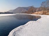 在冬天的早晨河乌苏里 — 图库照片