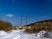 The Landscape with electric power line — Stock Photo