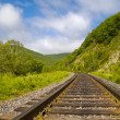 Year landscape with railway line — Stock Photo