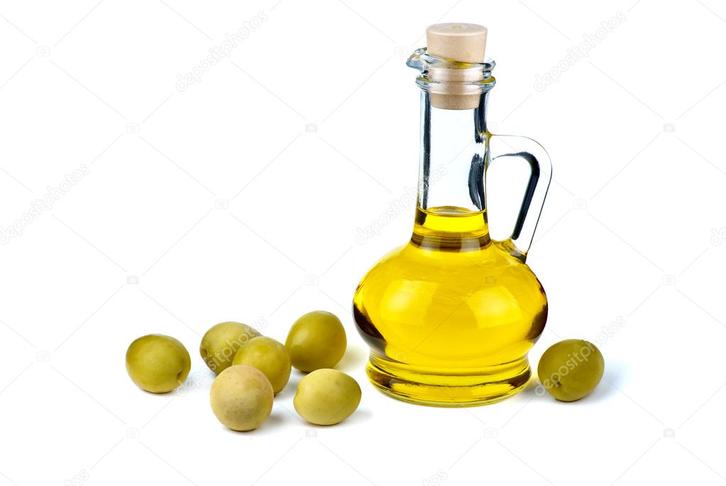 Small decanter with olive oil and some olives near isolated on the white background — Stock Photo #1611410