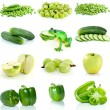 Set of green fruits and vegetables — Stock Photo