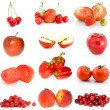 Set of red fruits and vegetables - Stock Photo