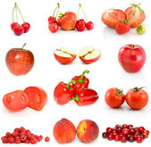 Set of red fruits and vegetables — Stock Photo
