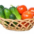 Wicker basket with vegetables - Stock Photo