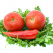 Tomatoes, red chili pepper and parsley — Stock Photo