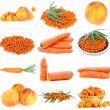 Set of orange fruits and vegetables - Stock Photo