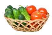 Wicker basket with vegetables — Stock Photo