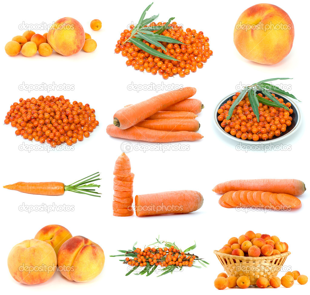 Set of orange fruits, berries and vegetables isolated on the white background — Stock Photo #1683618