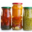 Glass jars with marinated vegetables — Stock Photo #1690941