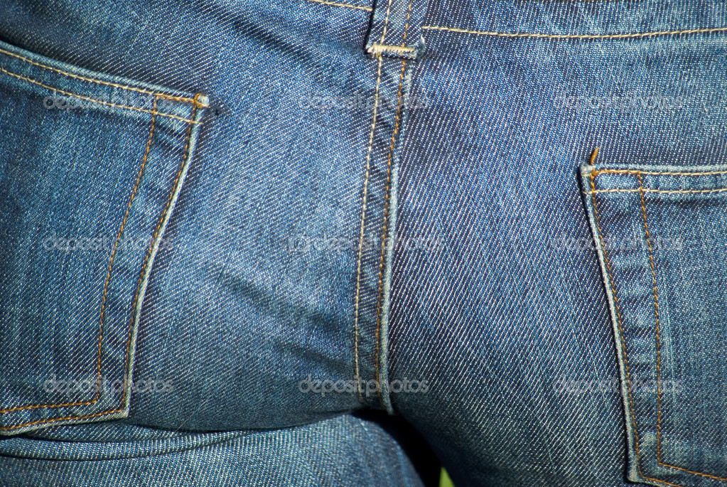 Female buttocks in blue jeans close-up  Stok fotoraf #1861602