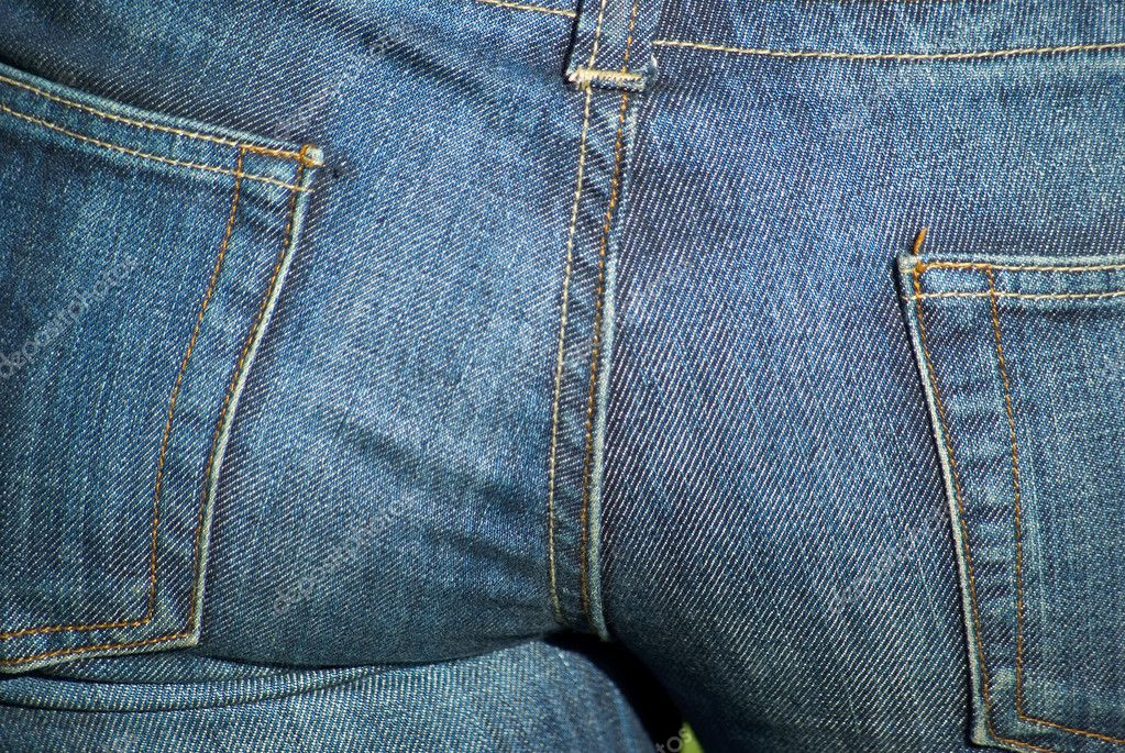 Female buttocks in blue jeans close-up   #1861602