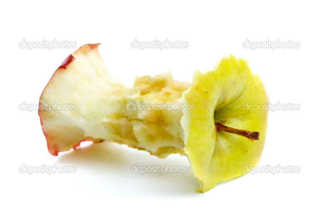 Apple core isolated on the white background — Foto Stock #1862084