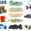 Stock Photo: Set of different pills and tablets