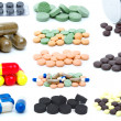 Set of different pills and tablets - Stock Photo