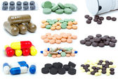 Set of different pills and tablets — Stock Photo