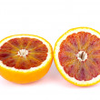 Blood (red-pulp) orange sliced on halves — Stock Photo