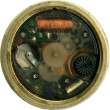 Isolated vintage brass clock front panel — Stock Photo