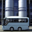 Funny concept bus at the office building — Foto Stock