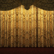 Yellow velvet curtain opening scene — Stock Photo