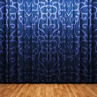 Blue velvet curtain opening scene — Stock Photo #1623281