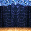 Blue velvet curtain opening scene — Stock Photo #1623307