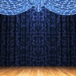 Stock Photo: Blue velvet curtain opening scene