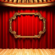 Royalty-Free Stock Photo: Red curtains, gold columns and frame