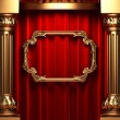 Red curtains, gold columns and frame — ストック写真