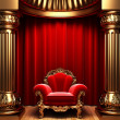 Red velvet curtains, gold columns - 图库照片
