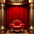 Red velvet curtains, gold columns — ストック写真