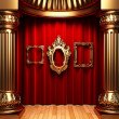 Red curtains, gold columns and frame — Foto de Stock