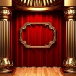 Red curtains, gold columns and frame - Stock Photo