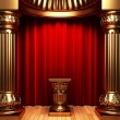 Red velvet curtains, gold columns - Stock Photo