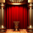 Red velvet curtains, gold columns — Stock fotografie
