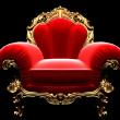 Classic golden chair in the dark — Stock Photo