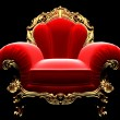 Classic golden chair in the dark - Stock Photo