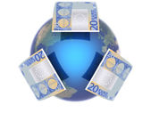 Euro, covering the Earth — Stock Photo