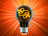 Bulb, which represents the idea — Stock Photo