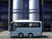 Funny concept bus at the office building — Stock Photo