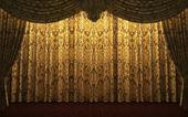 Yellow velvet curtain opening scene — Stock Photo