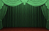 Green velvet curtain opening scene — Stock Photo