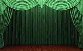 Green velvet curtain opening scene — Stock Photo